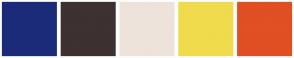 Color Scheme with #1B2B79 #3D3131 #EDE3DB #F0DB4C #E14F24