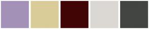 Color Scheme with #A491B8 #D9CC98 #420505 #DBD8D3 #434542