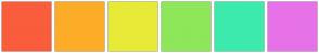 Color Scheme with #F95D3C #FDAC28 #E8EA38 #8DE759 #3DEAAD #E772E8