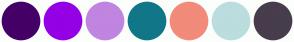 Color Scheme with #440066 #9500E5 #C085E0 #117788 #F28B79 #BBDDDD #473D4C