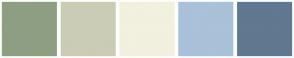 Color Scheme with #8E9E82 #CACCB6 #F2F0DF #A9C1D9 #607890