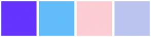Color Scheme with #6534FF #62BCFA #FCCDD3 #BBC4EF