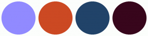 Color Scheme with #918AFF #CC4923 #214369 #38061C
