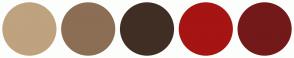 Color Scheme with #BFA27E #8C6E54 #402E24 #A61414 #731919
