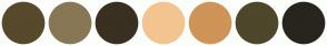 Color Scheme with #57492C #887755 #393022 #F3C490 #CF9457 #4E472B #28251E
