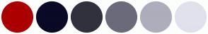 Color Scheme with #AB0000 #0A0A27 #31313E #6A6A7A #ADADBC #E1E1ED