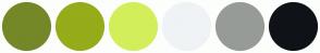 Color Scheme with #748828 #96AC1A #D2EF5B #EFF3F5 #969B98 #0F1317