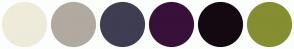 Color Scheme with #EEEBDA #B1AAA0 #3F3D52 #38103A #140911 #858E31