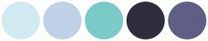 Color Scheme with #D2EBF2 #C0D2E6 #7BCAC7 #302D3E #5F5F85