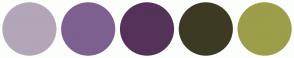 Color Scheme with #B3A6B8 #7D6090 #55325A #3C3A23 #9C9E4A
