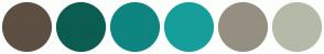 Color Scheme with #5D4F42 #0B5D51 #0E8581 #169E9A #958F81 #B5B9A8
