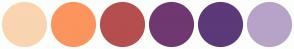Color Scheme with #F9D5B1 #FC945D #B54E4F #6F3871 #5C3979 #B7A3C8