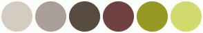 Color Scheme with #D4CCC1 #AA9F99 #584C40 #6F4141 #989924 #D2DA6D