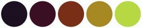 Color Scheme with #1C1021 #3B0F24 #792F17 #A78923 #B6D943