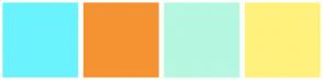 Color Scheme with #6AF3FD #F59332 #B5F7E0 #FFF17D