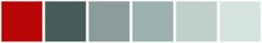 Color Scheme with #B80707 #485C5A #8C9C9A #9DB2B1 #BFCFCC #D6E4E1