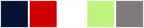 Color Scheme with #041234 #CE0000 #FFFFFF #BFF480 #807B7B