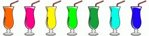 Color Scheme with #FF6500 #FF0087 #FFF700 #04FF00 #14A137 #00FFE8 #1F06F4