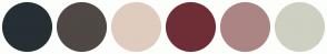 Color Scheme with #262F34 #4F4845 #DFCCBE #6E2E37 #AB8584 #CED0C2