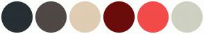 Color Scheme with #262F34 #4F4845 #DFCCB3 #6B0C0C #F34A4A #CED0C2