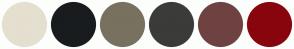 Color Scheme with #E5DFCF #191C1E #78715F #3B3B39 #6F4242 #89050E