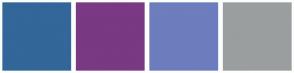 Color Scheme with #336699 #7A3983 #6D7DBD #9A9E9F