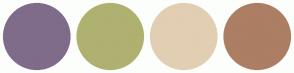 Color Scheme with #7F6C8A #AFB170 #E2CEB3 #AC7E64
