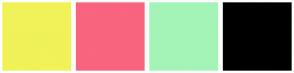 Color Scheme with #F0F258 #F9647E #A4F4B8 #000000