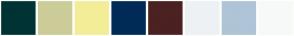 Color Scheme with #003333 #CCCC99 #F4ED97 #002B56 #4B2121 #EDF1F4 #AFC4D6 #F7F9F9