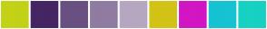 Color Scheme with #C3D216 #462563 #6A5082 #907CA1 #B5A7C0 #D2C316 #D216C3 #16C3D2 #16D2C3