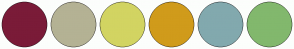 Color Scheme with #7A1B38 #B4B294 #D2D462 #D09B1B #82A9AE #82B86D