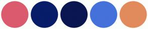 Color Scheme with #DB5A6E #071D69 #0A1650 #4571DA #E18B5C