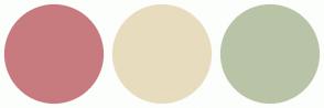 Color Scheme with #C77B7F #E8DCBE #B9C4A7