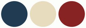 Color Scheme with #213C52 #E8DCBE #872323
