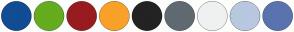 Color Scheme with #124C95 #65AC1E #981C1F #F9A129 #232323 #5F6A72 #EFF1F1 #B8C8DF #5A73AE