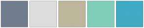 Color Scheme with #717D8C #DDDDDD #BDB69C #80CEB9 #41AAC4
