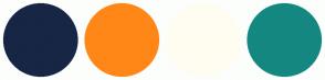 Color Scheme with #162644 #FF8717 #FFFDF1 #148880