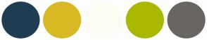 Color Scheme with #1F3E53 #D8B924 #FDFCF3 #ABB800 #696662