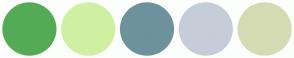 Color Scheme with #55AB55 #CDF1A1 #6D929B #C5CDD8 #D4DBB2