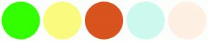 Color Scheme with #33FF00 #FAFA7F #D8531E #CCF9ED #FEF0E3