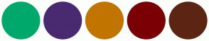 Color Scheme with #00A86B #492970 #C27400 #7A0006 #5C2513