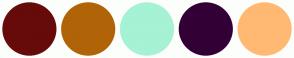 Color Scheme with #670A0A #B06407 #A5F2D4 #330036 #FFB973