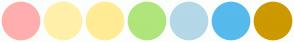 Color Scheme with #FFAEAE #FFF0AA #FFEC94 #B0E57C #B4D8E7 #56BAEC #CC9900