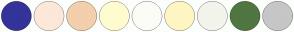 Color Scheme with #333399 #FCE8D8 #F3CFAC #FFFBD0 #FCFCF7 #FFF5C3 #F3F4EC #507642 #C6C6C6