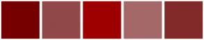 Color Scheme with #760000 #914848 #9E0000 #A46868 #822A2A