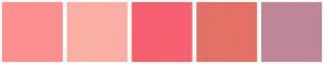 Color Scheme with #FB8F8F #F9AFA4 #F76070 #E37166 #BE8797