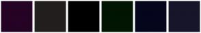 Color Scheme with #250325 #231E1E #000000 #011503 #04061D #17152A