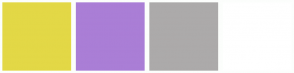 Color Scheme with #E3D846 #AA7ED6 #ACAAAA #FFFFFF
