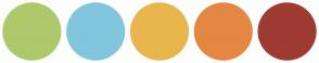Color Scheme with #ADC96B #81C6DD #E9B64D #E48743 #9E3B33