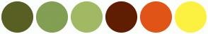 Color Scheme with #595F23 #829F53 #A2B964 #5F1E02 #E15417 #FCF141